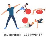 set of people in fitness club.... | Shutterstock .eps vector #1394998457