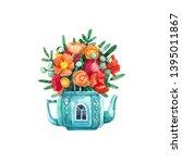 watercolor illustration of tea... | Shutterstock . vector #1395011867
