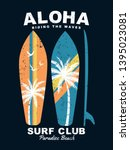 aloha text with surfboards and... | Shutterstock .eps vector #1395023081