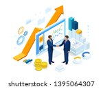 isometric successful business... | Shutterstock .eps vector #1395064307