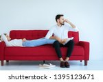 couple with problem of foot... | Shutterstock . vector #1395123671