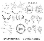 set of wedding ornament... | Shutterstock .eps vector #1395143087