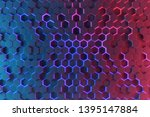 hexagonal neon background. 3d... | Shutterstock . vector #1395147884