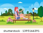 girl taking selfie photo on... | Shutterstock .eps vector #1395166391