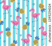 hand drawn flamingo and... | Shutterstock .eps vector #1395254024