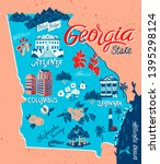 illustrated map of georgia  usa.... | Shutterstock .eps vector #1395298124