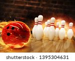 bowling hit with fire ball... | Shutterstock . vector #1395304631