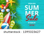 summer sale vector banner... | Shutterstock .eps vector #1395323627