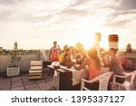 young friends having barbecue... | Shutterstock . vector #1395337127