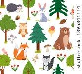 Seamless Woodland Animals...