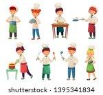 cartoon children cooks. little... | Shutterstock .eps vector #1395341834