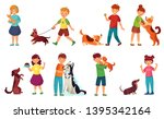 Stock vector kids playing with dogs child feeding dog pet animals care and kid walking with cute puppy cartoon 1395342164