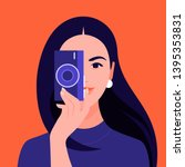 a female photographer holds a... | Shutterstock .eps vector #1395353831
