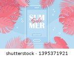 summer tropical sale banner ...   Shutterstock .eps vector #1395371921