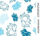lotus flower seamless vector... | Shutterstock .eps vector #1395393704