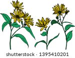 beautiful yellow flowers with... | Shutterstock .eps vector #1395410201