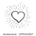 heart symbol with sunburst hand ... | Shutterstock . vector #1395410507