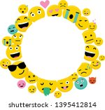 photo frame with funny emoji.... | Shutterstock .eps vector #1395412814