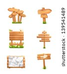 wooden signs set  vector | Shutterstock .eps vector #139541489
