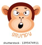 monkey is feeling grumpy ... | Shutterstock .eps vector #1395474911
