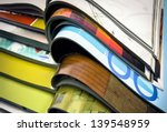 a pile of magazines close up | Shutterstock . vector #139548959
