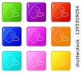 dental floss icons set 9 color... | Shutterstock .eps vector #1395509054