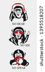 three  ool wise monkey. see no... | Shutterstock .eps vector #1395518207