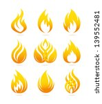 fire and flame icons set | Shutterstock .eps vector #139552481
