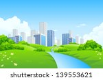 green landscape with trees... | Shutterstock . vector #139553621