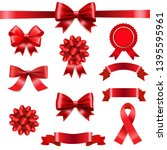 big set ribbon bow white... | Shutterstock .eps vector #1395595961