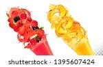 set of fruit juice splash in...   Shutterstock .eps vector #1395607424