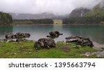 lago di fusine superior during... | Shutterstock . vector #1395663794