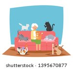 Stock vector smiling granny old lady holding cat banner vector illustration woman sitting on sofa in living 1395670877