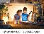 two cute little children are... | Shutterstock . vector #1395687284