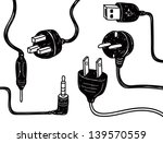 set of plug in socket in doodle ... | Shutterstock .eps vector #139570559