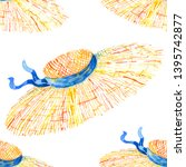 seamless pattern straw summer... | Shutterstock . vector #1395742877