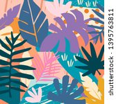 tropical jungle leaves and...   Shutterstock .eps vector #1395763811