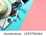 travel accessories objects and... | Shutterstock . vector #1395796364
