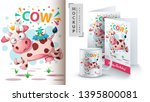 cow and bird   mockup for your... | Shutterstock .eps vector #1395800081