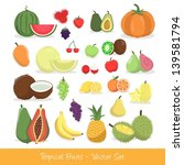 tropical fruit vector set | Shutterstock .eps vector #139581794