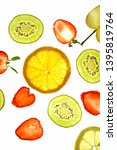 different sliced fruits like... | Shutterstock . vector #1395819764