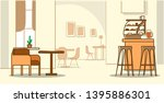 Stock vector modern cafe interior empty no people cafeteria with furniture sketch doodle horizontal 1395886301
