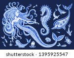 set of blue hand painted fairy... | Shutterstock . vector #1395925547