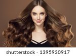 beauty girl with long  and  ... | Shutterstock . vector #1395930917