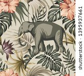 tropical vintage animal... | Shutterstock .eps vector #1395937661