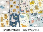 Stock vector pattern set with different animals for kids clothes nursery fabric 1395939911