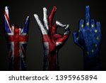 a set of three hands with a... | Shutterstock . vector #1395965894