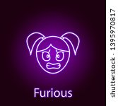 furious girl face icon in neon... | Shutterstock .eps vector #1395970817