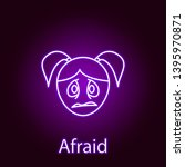 afraid girl face icon in neon...