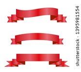 red ribbons set. vector design... | Shutterstock .eps vector #1395981554